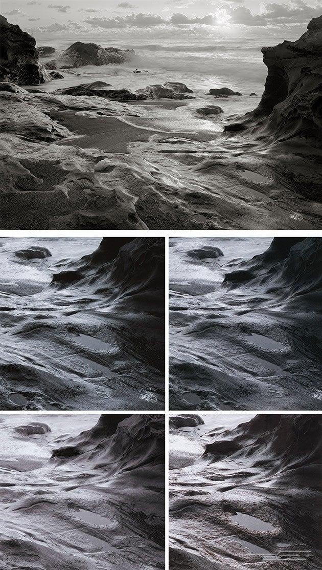 imagen en blanco y negro de la escena del océano con rocas y nubes