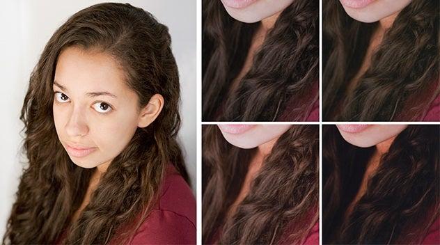 Comparación del color de la impresora fotográfica de inyección de tinta con cinco imágenes de referencia de una persona joven con cabello largo y camisa marrón